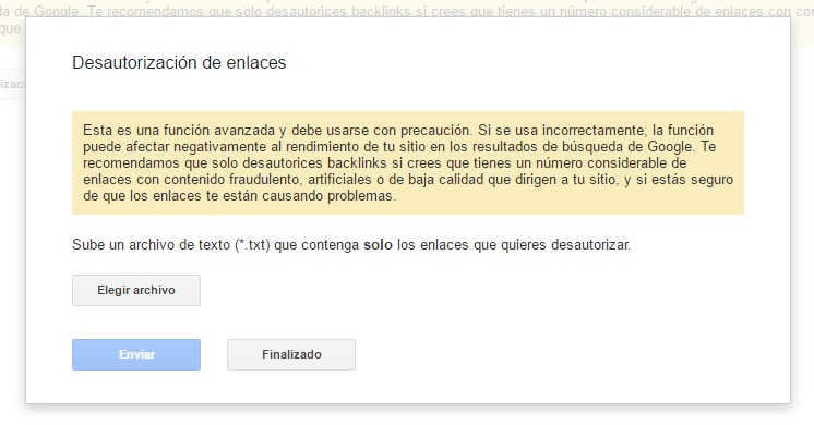 analizar backlinks enlaces externos disavow tool solicitud