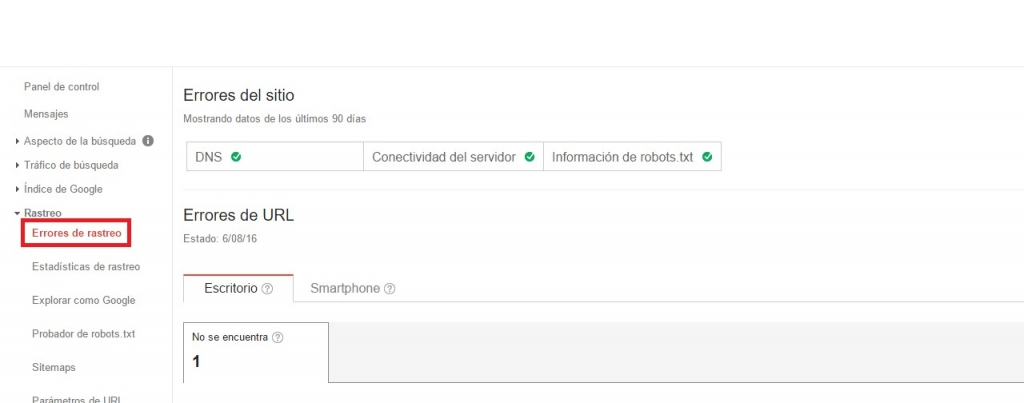 errores de rastreo google search console panel