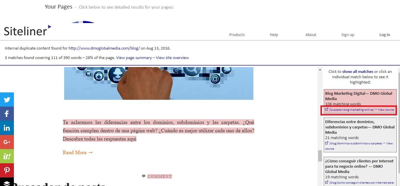 contenido duplicado interno siteliner texto duplicado