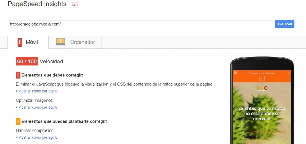 velocidad de carga web google speed insight