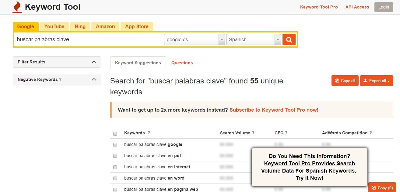 buscar palabras clave herramientas keywordtool
