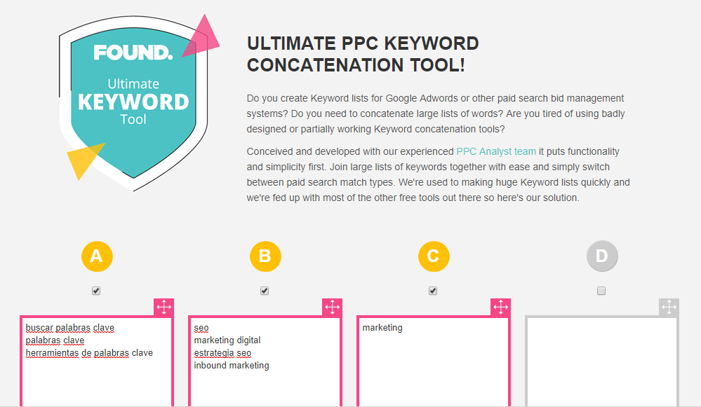 herramientas de palabras clave keyword concatenation tool