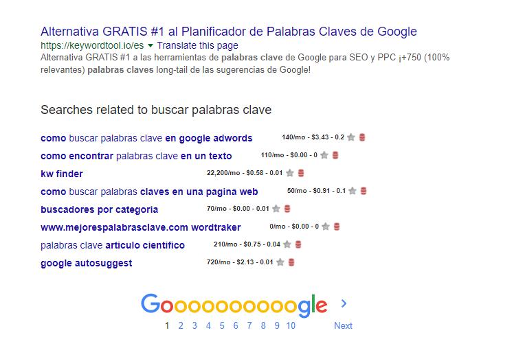 herramientas de palabras clave sugerencias google
