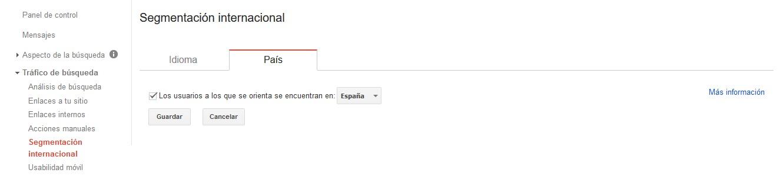 posicionamiento seo internacional google search console target