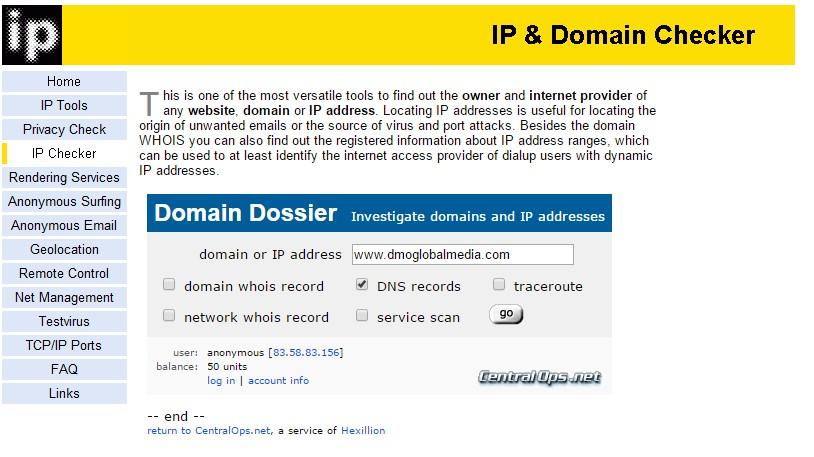 redireccionar dominios ipchecker