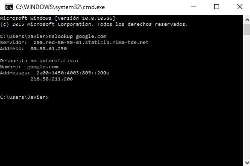 redireccionar dominios nslookup