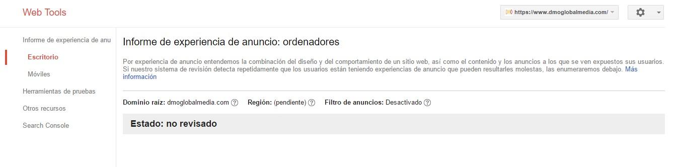actualizacion google fred chequear experiencia usuario anuncios