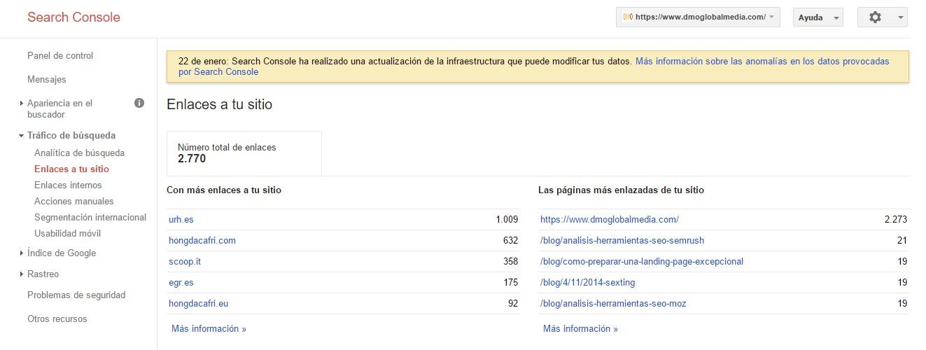 herramienta de bakclinks google search console