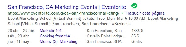 rich snippets seo events