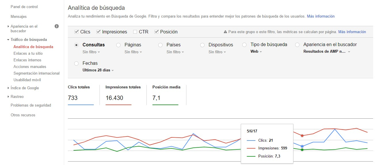 herramientas amp google search console consulta busquedas