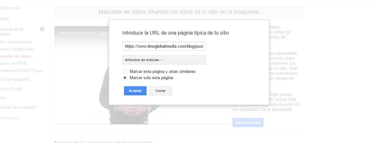 herramientas lenguaje marcado google search console marcador datos eleccion