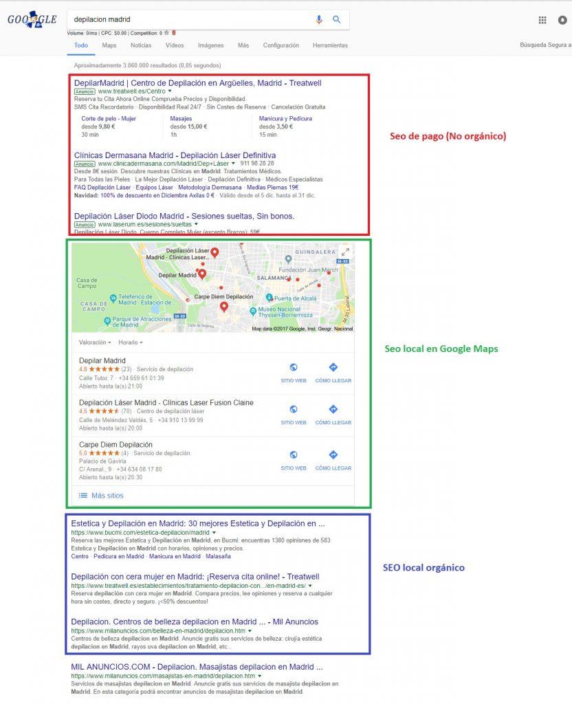 posicionamiento seo local google resultados