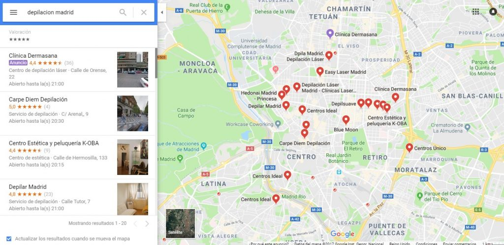 posicionamiento seo local google resultados maps