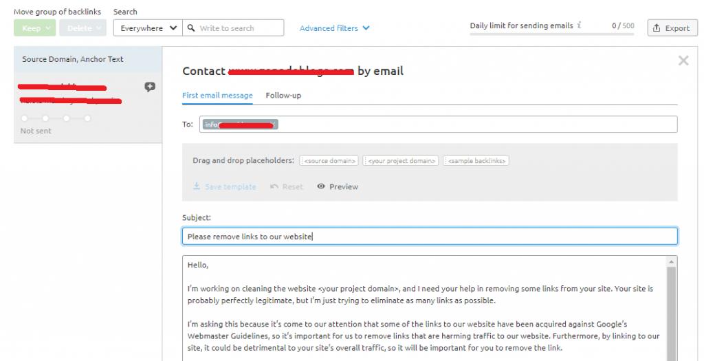 auditoria seo analizar enlaces escribir mail
