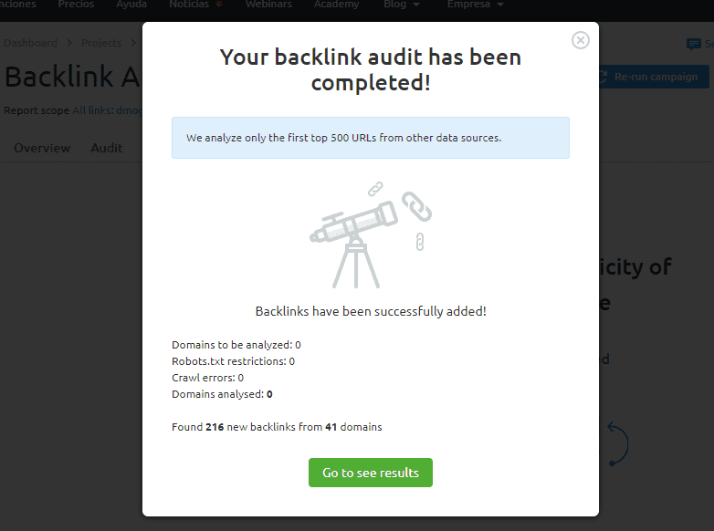 auditoria seo configuracion backlink audit fin