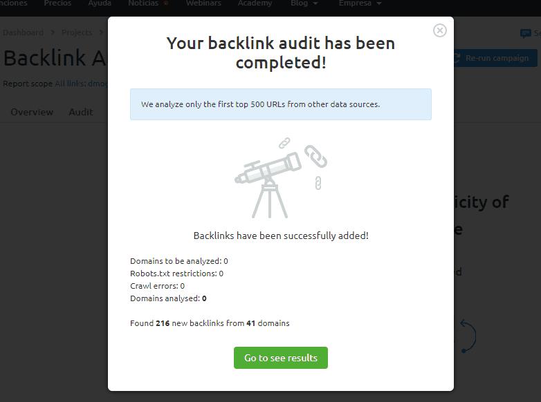 auditoria seo configuracion backlink audit fin