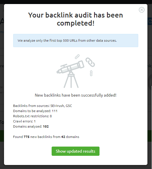 auditoria seo configuracion backlink audit gsc resultado