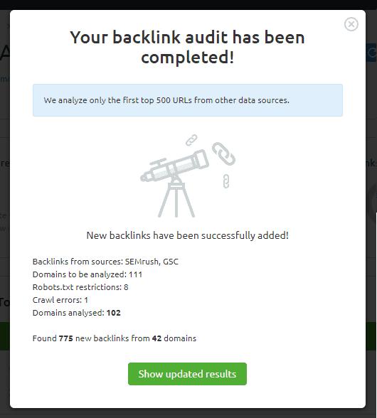 auditoria seo configuracion backlink audit gsc resultado