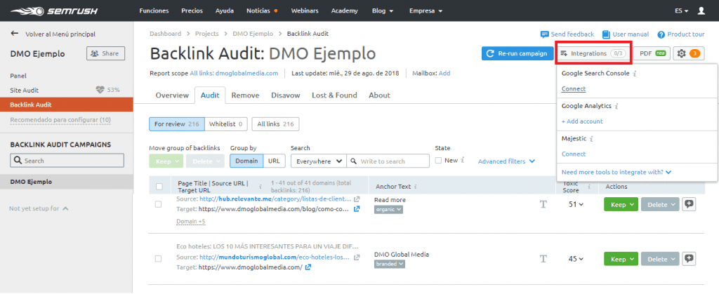 auditoria seo configuracion backlink audit integraciones