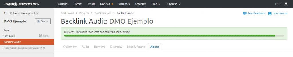 auditoria seo configuracion backlink audit progreso