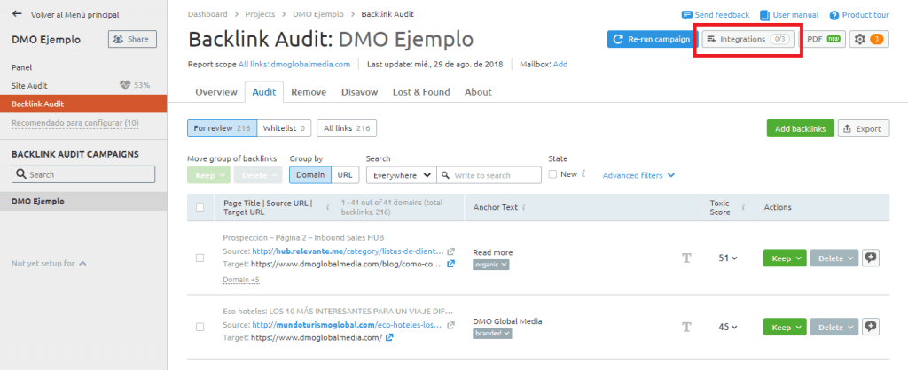 auditoria seo configuracion backlink audit resultados