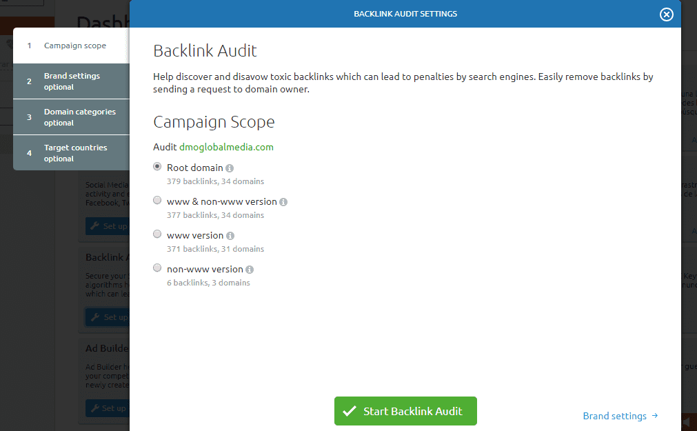 auditoria seo configuracion backlink audit scope