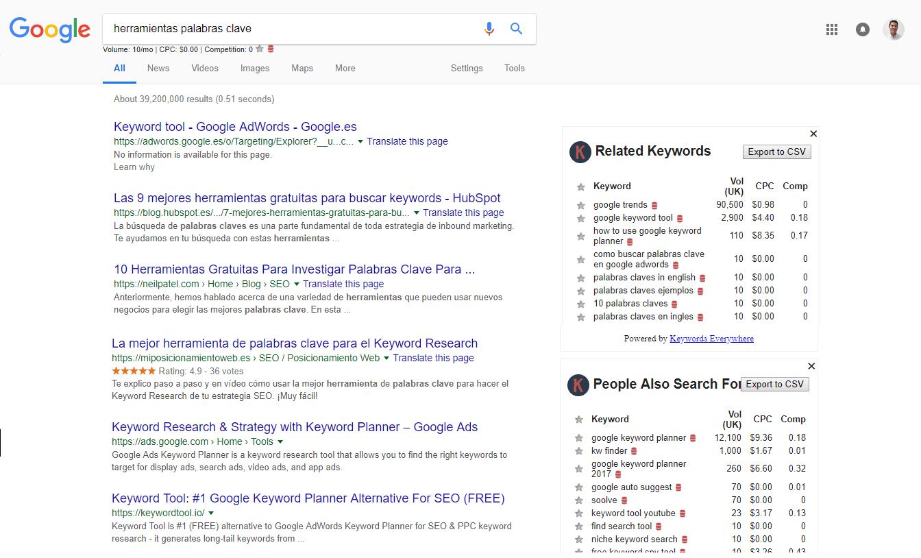 herramientas palabras clave keywordsuggest serp