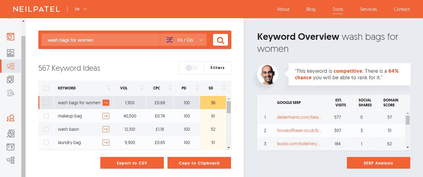 herramientas palabras clave ubbersuggest ultima version