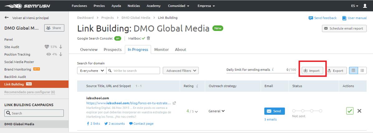 posicionamiento seo buscadores importar enlaces