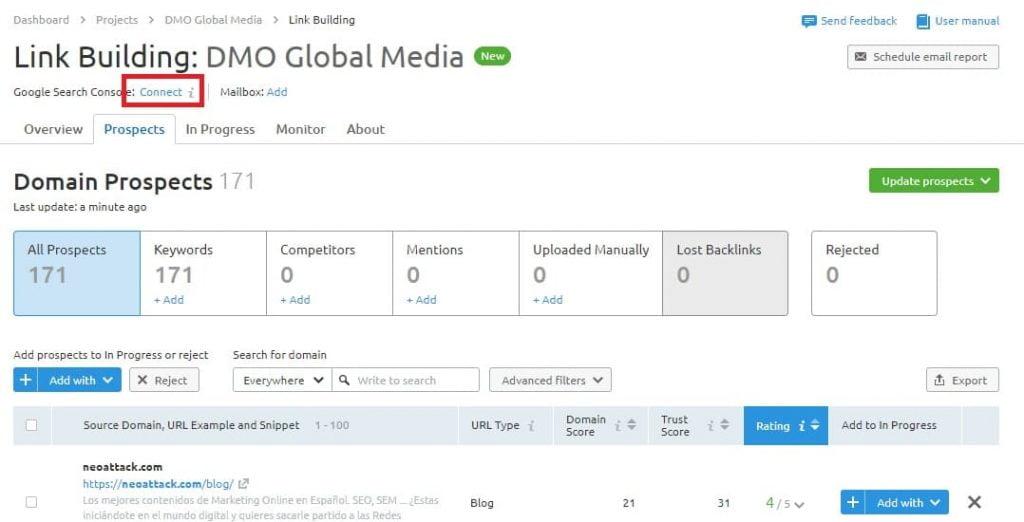 posicionamiento seo buscadores link building configuracion gsc