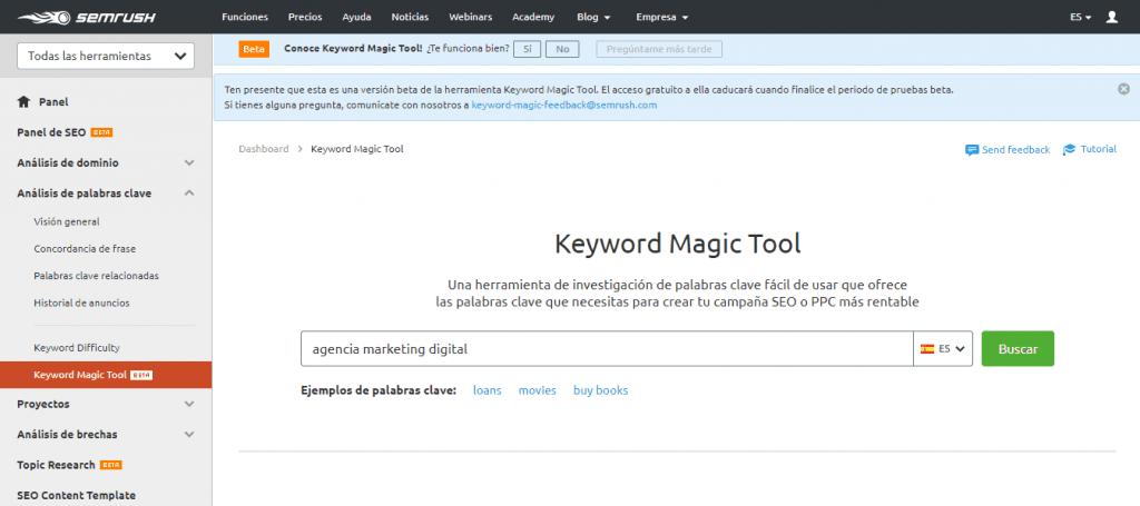 posicionamiento seo buscadores magic keyword tool palabra clave