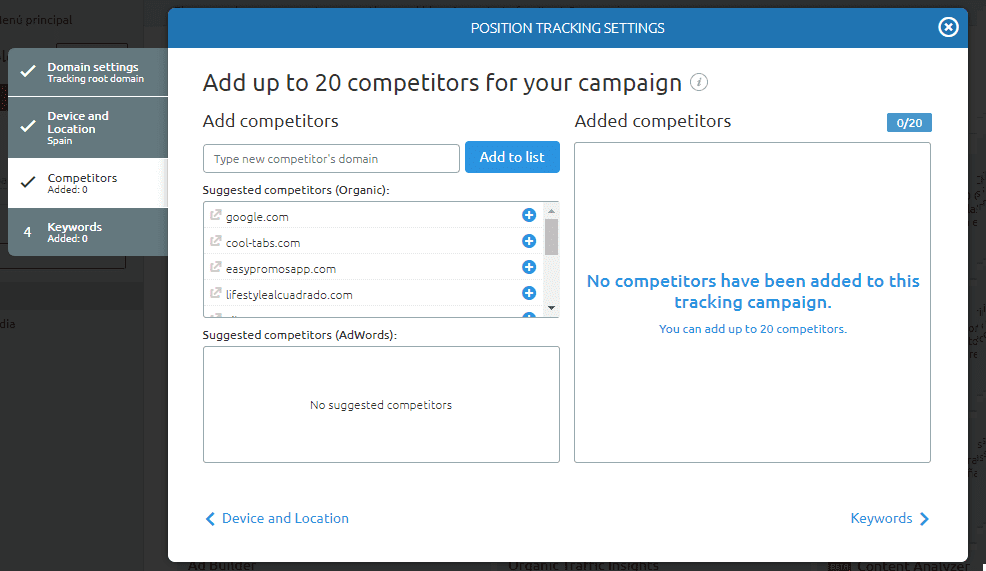 posicionamiento seo buscadores position tracking configurar competidores