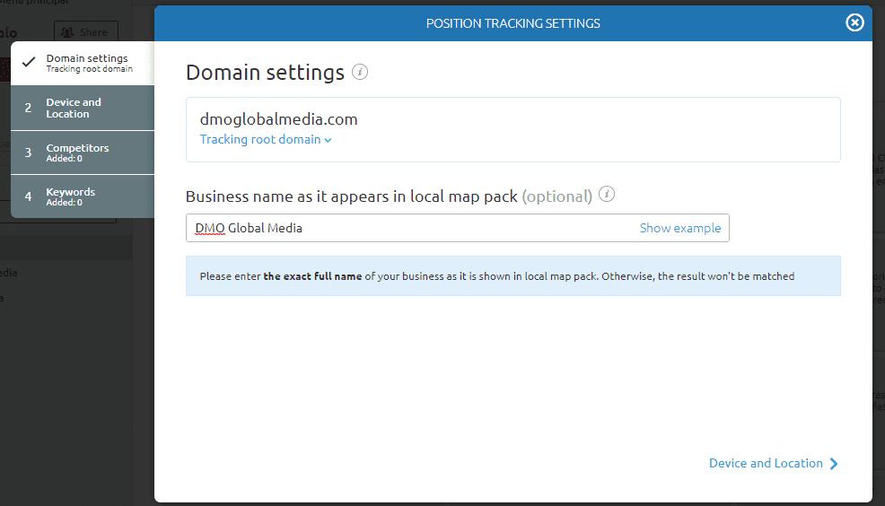 posicionamiento seo buscadores position tracking configurar dominio
