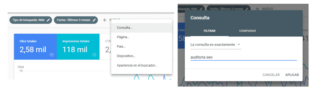 redaccion seo google search console filtrar