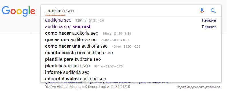 redaccion seo sugerencias google caracter especial