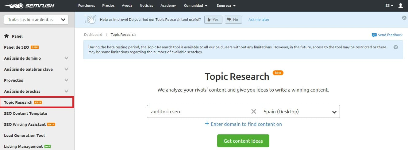 redaccion seo topic research