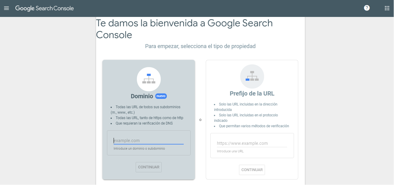 alta google search console dominio o url