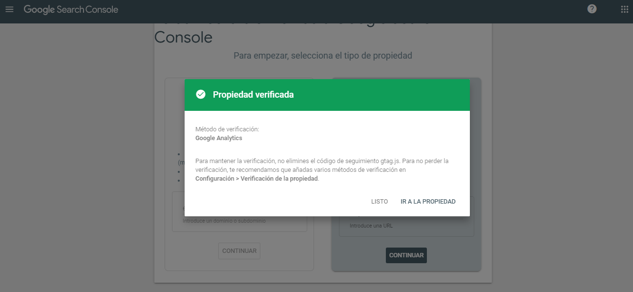 alta google search console verificado