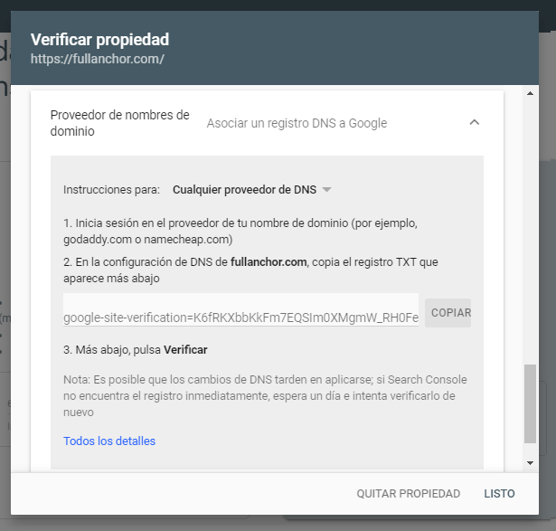 alta google search console verificar dns