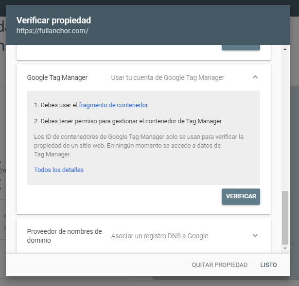 alta google search console verificar google tag manager