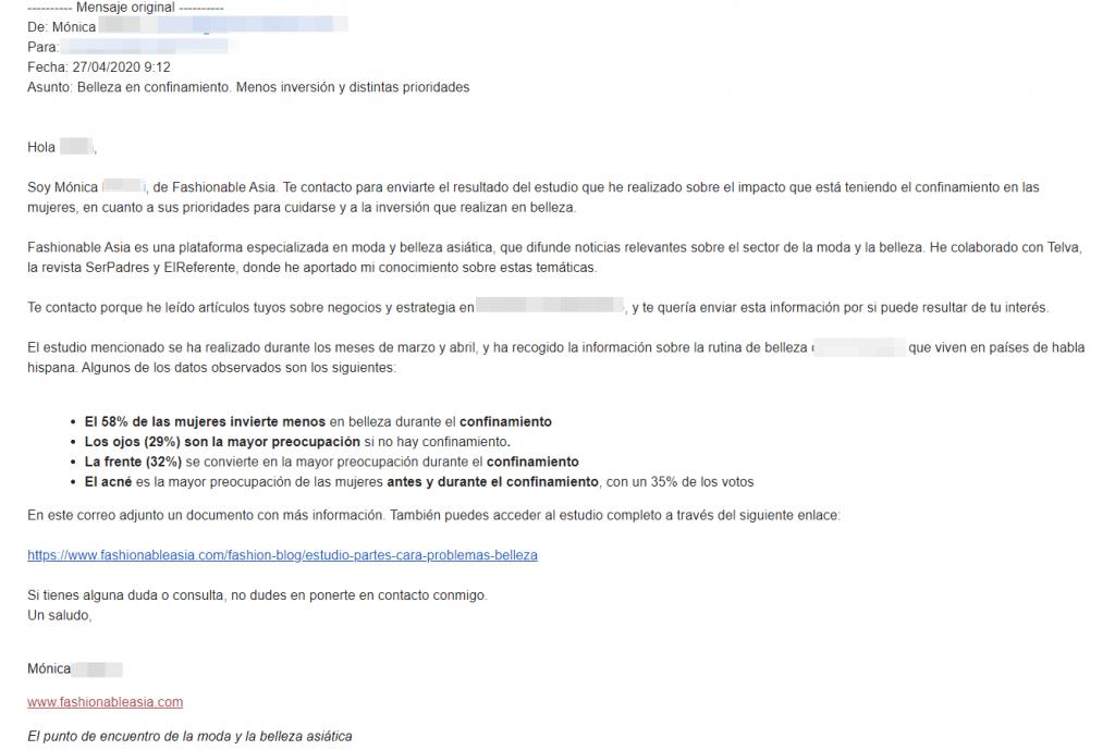 como enviar email nota prensa ejemplo