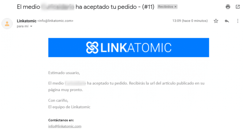 linkatomic pedido aceptado
